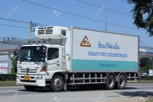 CHIANGMAI, THAILAND -OCTOBER  17 2015:  Container truck of Chainavee Cold Storage Transportation company. Photo at road no.121 about 8 km from downtown Chiangmai, thailand.